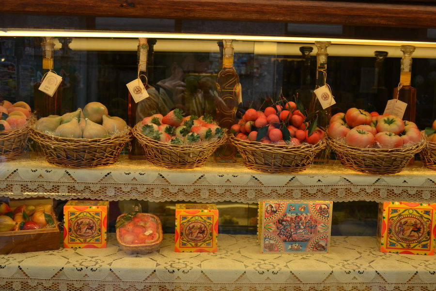 Abundance Basket Food In A Row Large Group Of Objects Marzipan Fruits Multi Colored Shop Sweets