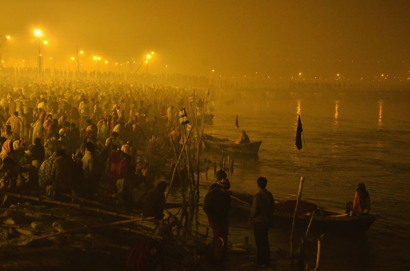 Pilgrims at riverbank during kumbh mela