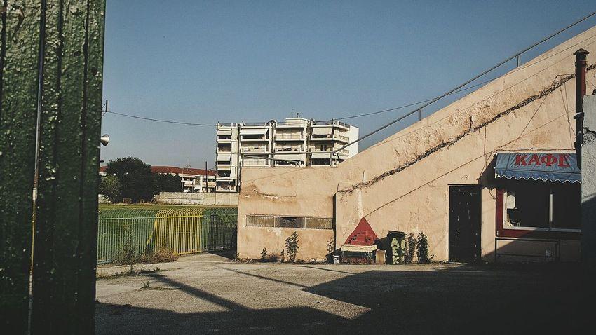 Hello World it's time for καφές break Sports Ground Beautiful Decay Plattenbauromantik Architecture in Πτολεμαΐδα Ελλάδα VisitGreece