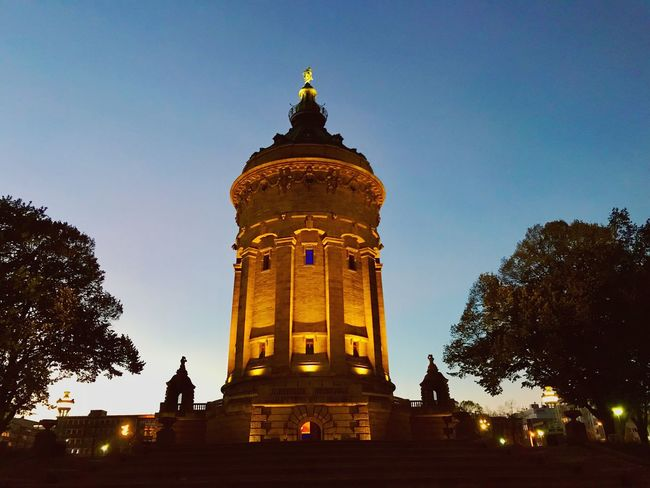 Low Angle View Architecture Religion Statue History Gold Colored Spirituality Building Exterior Built Structure Tree Place Of Worship Sculpture Sky Silhouette No People Travel Destinations Illuminated Outdoors Clear Sky Wasserturm Mannheim  Mannheim Mannheim Germany Mannheim At Night Homesweethome