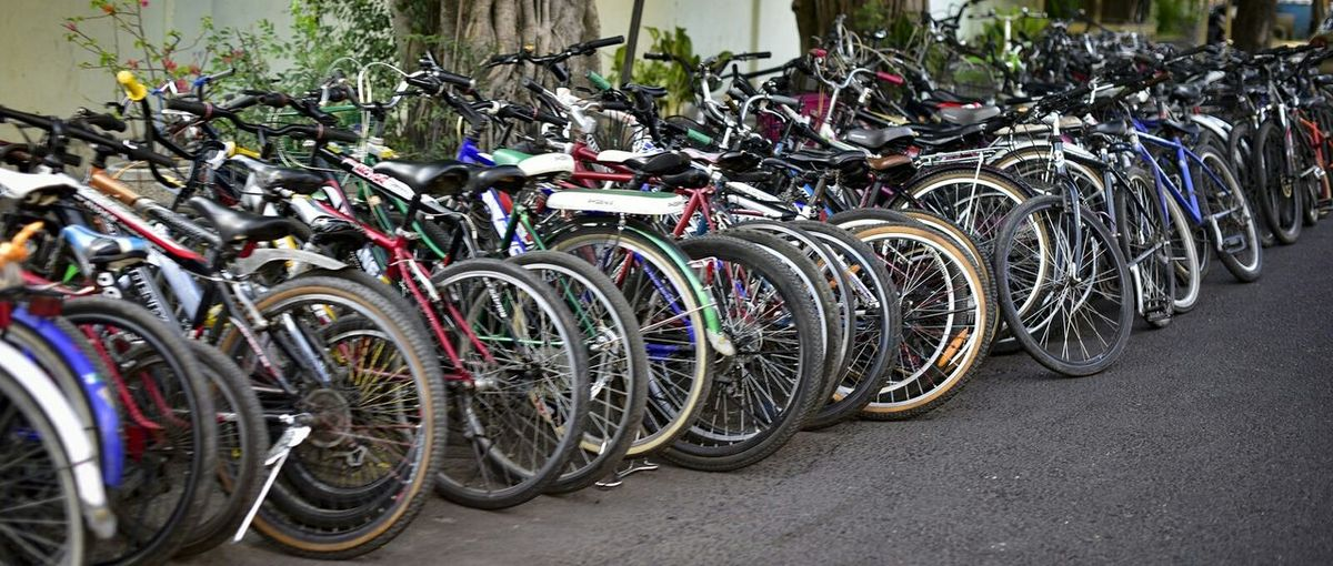 The colony of bicycle parks on the street. But amazingly they doesn't touched the pedestrian @surakarta Jawa Tengah. Bicycles Colony Central Of Java Surakarta, Indonesia School Factory Transportation Pedestrian Parks Solo
