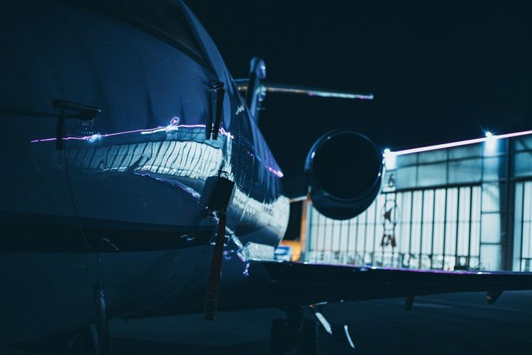 Close-up of airplane in garage