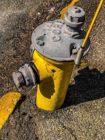 Water Works Sidewalk IPhone Photography Fire Hydrant 🔥 Yellow High Angle View Refreshment Sunlight Day Water Wet Outdoors No People Close-up