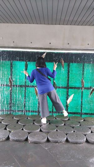 Rear view of girl standing on stepping stones with artificial fish stuck on wall