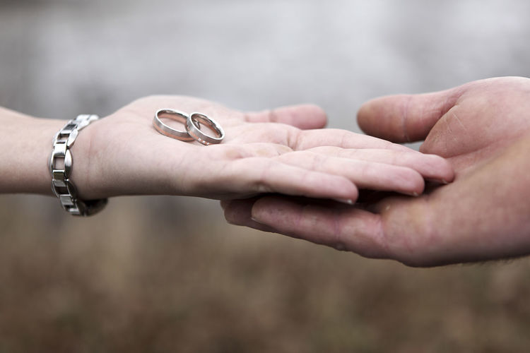 Close-Up Of Hand Holding Wedding Rings