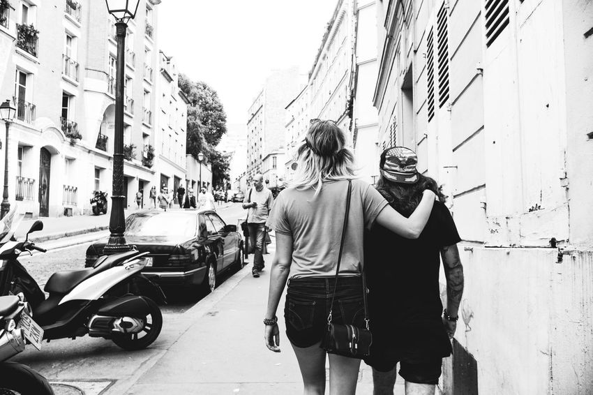 If you are the boss, then you have taller girlfriend! Architecture Building Exterior Built Structure Car Casual Clothing France French French People Men Montmartre Paris People Real People Rear View Snap a Stranger Strange Street Street Art Street Photography Streetphotography The Photojournalist - 2017 EyeEm Awards The Street Photographer - 2017 EyeEm Awards Transportation Waling Around Walking By Mix Yourself A Good Time Black And White Friday
