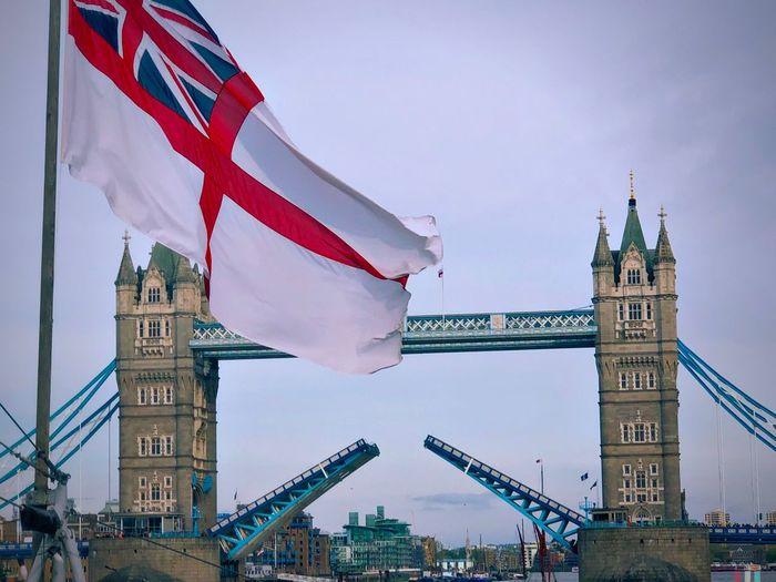 London bridge Flag Architecture Built Structure Building Exterior Sky Patriotism Tower Low Angle View City Travel Destinations