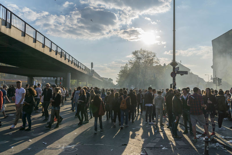 Berlin City City Life Crowd Day Firstofmay Firstofmayberlin Lifestyles Mayfest Street Street Photography Streetphotography Sunlight Sunset
