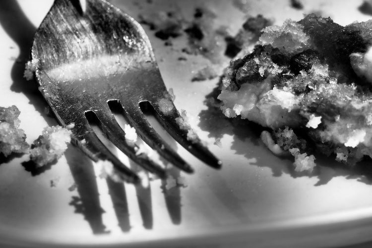 Blackandwhite Photography Cake Fork Close-up Day Desert Fork Empty Plate Food Food And Drink Fork Freshness Indoors  No People Plate Ready-to-eat Selective Focus Still Life