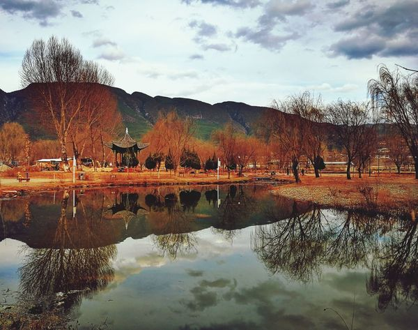 Reflection Tree Lifestyle Lake Agriculture Cloud - Sky Water Sky Only Men Mountain