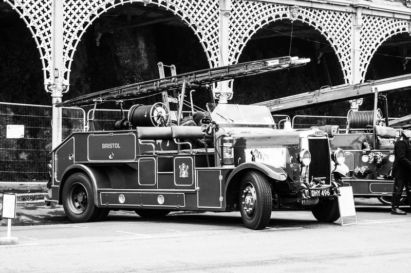 Where's the fire Blackandwhite Photography London To Brighton Spectial Edit Commercial Land Vehicle Transportation Arch Mode Of Transport Land Vehicle Day Outdoors Architecture Fire Engine