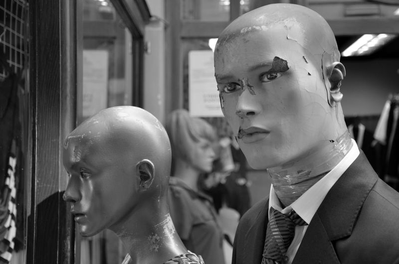 Adult Black And White Business Business Finance And Industry Close-up Day Futuristic Indoors  Mannequin People Reflection Retail  Store Store Window Well-dressed Window