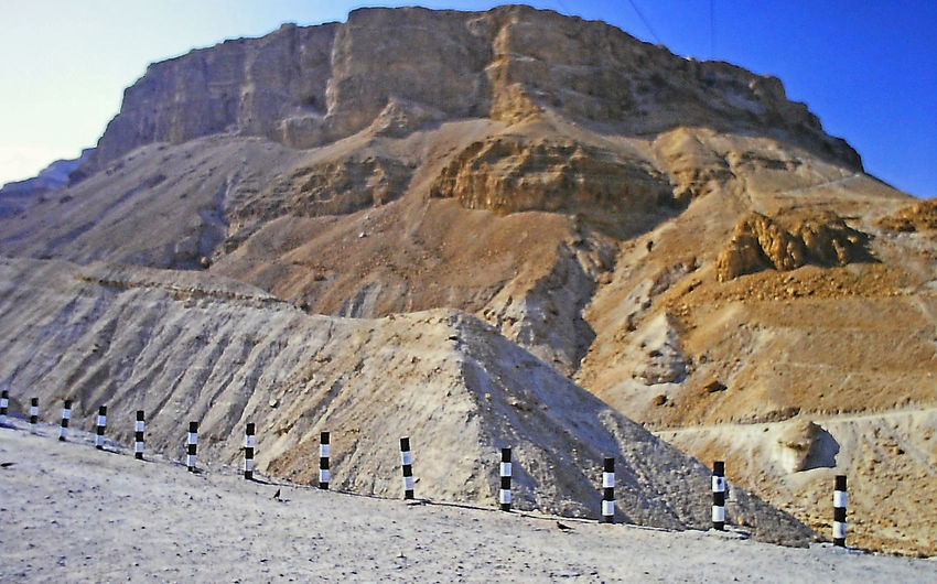 The mountain fortress of Masada, Israel Masada. Israel Beauty In Nature Clear Sky Day Geology History Landscape Mountain Mountain Range Nature No People Outdoors Physical Geography Rocky Mountains Scenics Sky Tranquil Scene Tranquility Perspectives On Nature