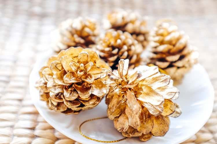 Pine cones for decorating your party in the most festive month of the year. Christmas Close-up Decoration Decorative Art Decorative Elements Festival Festival Season Festive Mood Gold Happiness Light New Year Pine Pine Cone Pine Cone Art Wedding White And Gold