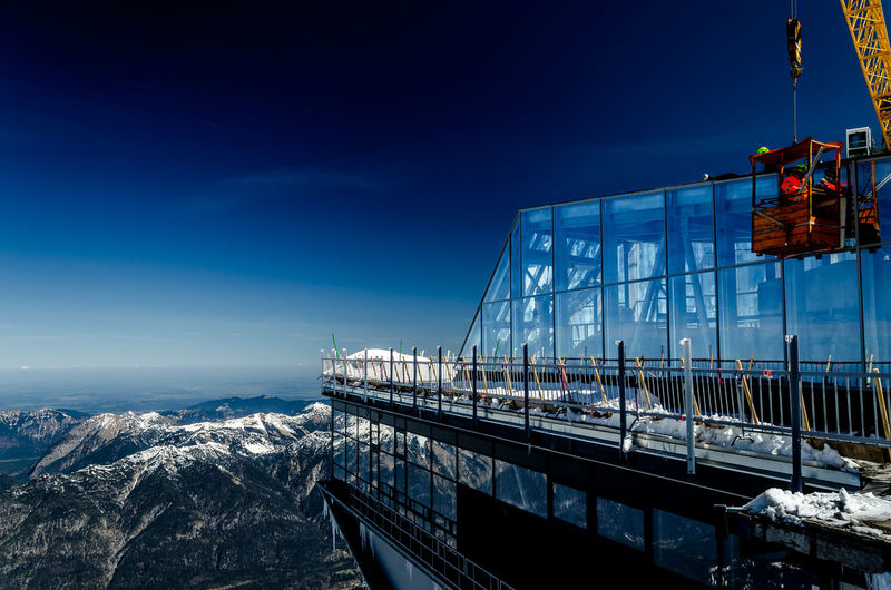 Zugspitze Cable Car Zugspitze Architecture Blue Blue Sky Building Exterior Built Structure Day Mountain Nature No People Sky Transportation