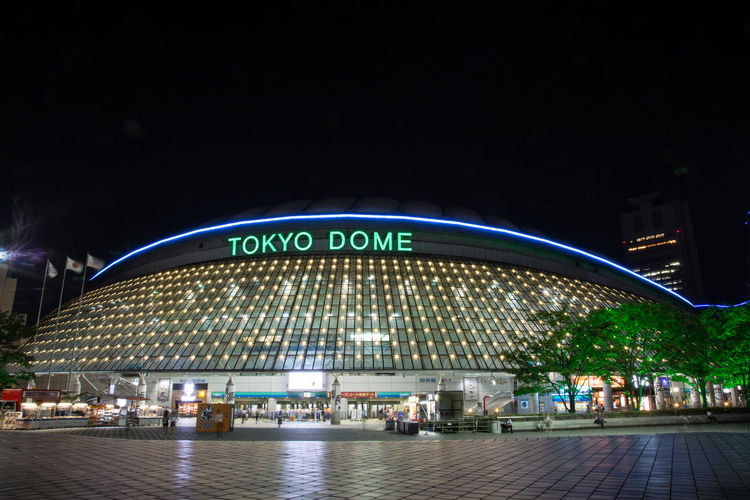 Tokyo Dome at night Tokyo Tokyo Dome Architecture Building Exterior Built Structure City Illuminated Neon Night No People Outdoors Sky