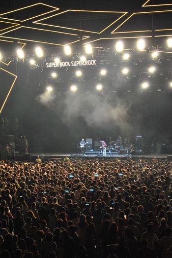 Performance Audience Crowd Stage - Performance Space Music Illuminated Event Night Nightlife Large Group Of People Popular Music Concert People Rock Music Indoors  Stage Light Musician Stadium Singer  Adult Live Music Lisboa Festival SuperBockSuperRock Light Effect