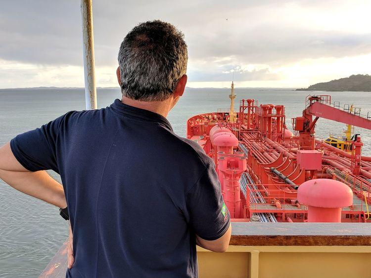 Nautical Theme Nautical Vessel Cargo Ship Life Onboard Sea Standing Water Technology Working Beach Men Sky Cloud - Sky