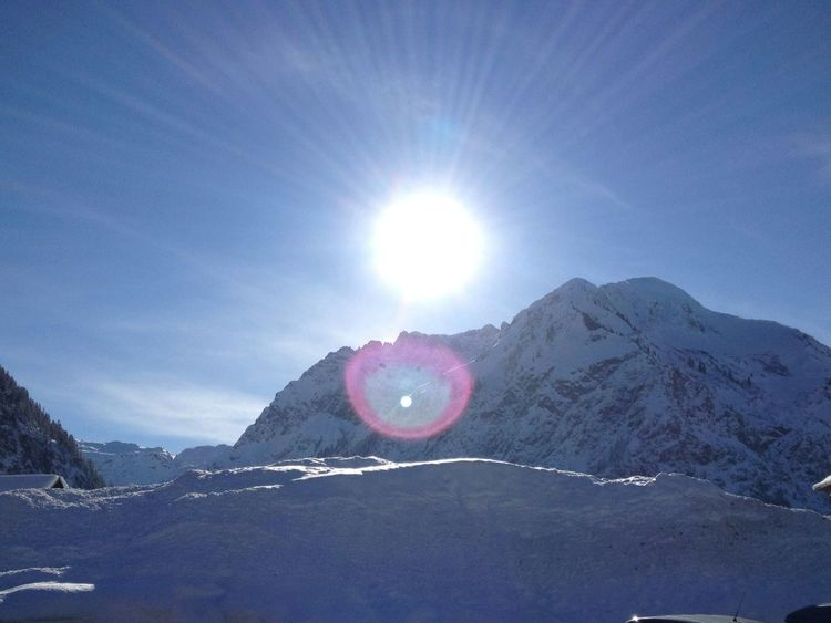 Skylining Blue Sky Winter Snow Nature Mountain Snowboarding