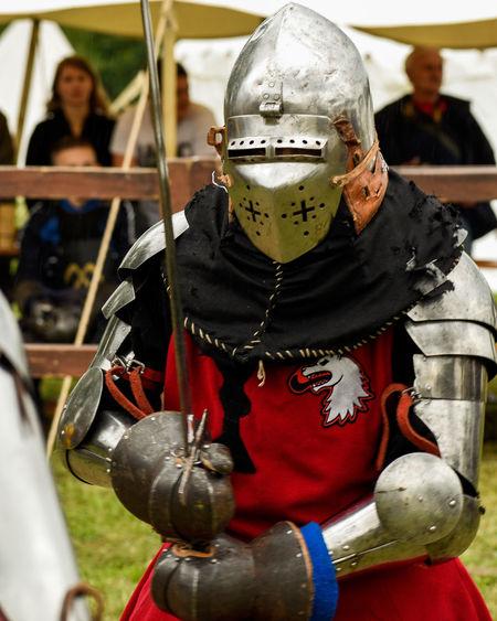 Knight welding sword... Headwear Portrait Men History Suit Of Armor Warrior - Person Sword Period Costume Medieval Historical Reenactment Battle Knight - Person