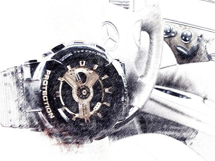 Travel By Puk✈️ In The Car On The Road G-Shock ⌚ Mercedes Driving Sketch Eye Em Around The World Shades Of Grey Blackandwhite