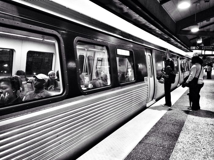 Blackandwhite Commuting Subway