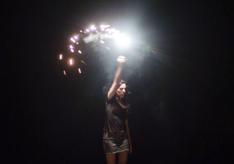 Night Woman Firework Light And Shadow Dark darkness and light