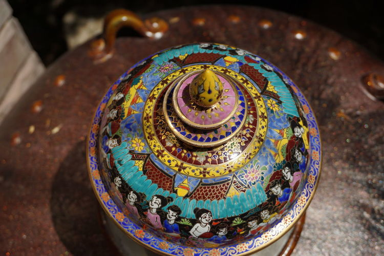 Benjarong Indoors  Close-up Focus On Foreground High Angle View Art And Craft Design Craft Benjarong Bowl Benjarong