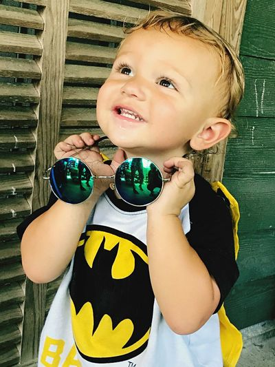 Once upon a childhood Vintage Sunglasses Child Front View Portrait Lifestyles Waist Up Cute Looking At Camera Males  Day Boys Casual Clothing Leisure Activity Innocence Men Close-up