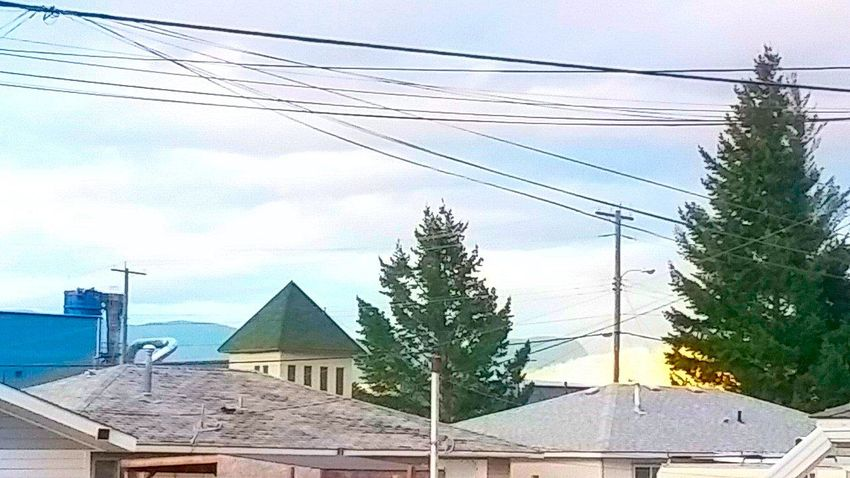 Architecture Blue Cable Cloud Cloud - Sky Day Electricity  Nature No People Outdoors Power Cable Power Line  Pyramid Residential Building Residential Structure Rooftops Sky Town Tree Urban Tree Wire