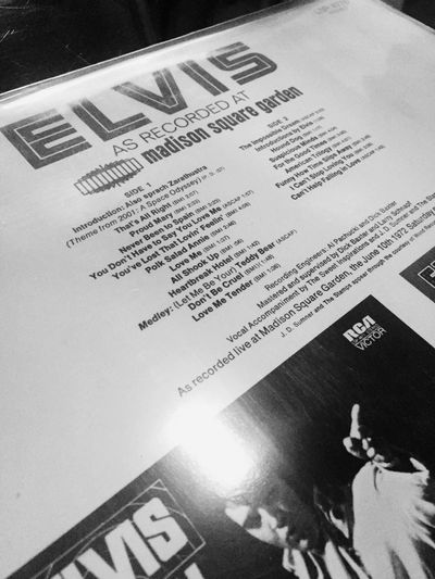 The King's music was the best IPhoneography Blackandwhitephoto Blackandwhite Elvis Live Album Elvis LP Text Paper High Angle View No People Indoors  Close-up