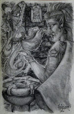 """""""Conjuring of creatures """" Happy Halloween new friends! Fantasyart Art, Drawing, Creativity Graphite Art Illustration Wiccan nature"""