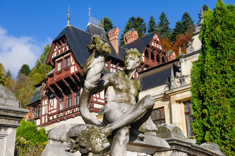 statue near the Peles castle in Romania Architecture Art And Craft Building Exterior History Low Angle View No People Peles Peles Castle Romania Sculpture Statue