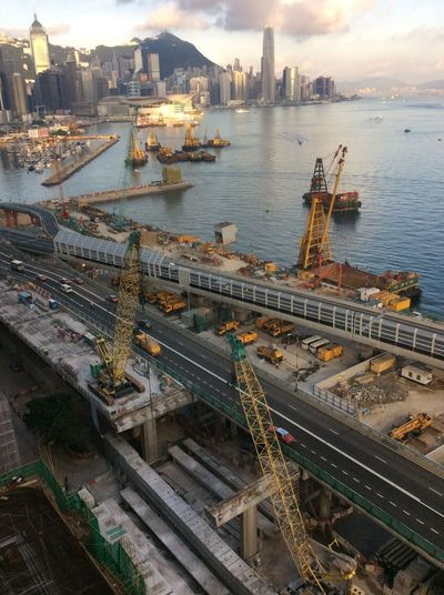 Cityscapes Building Works Hong Kong Harbour View Water boats/ships Early Morning roadway