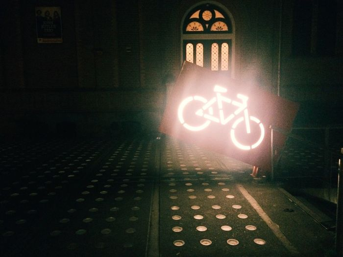 Information sign at night