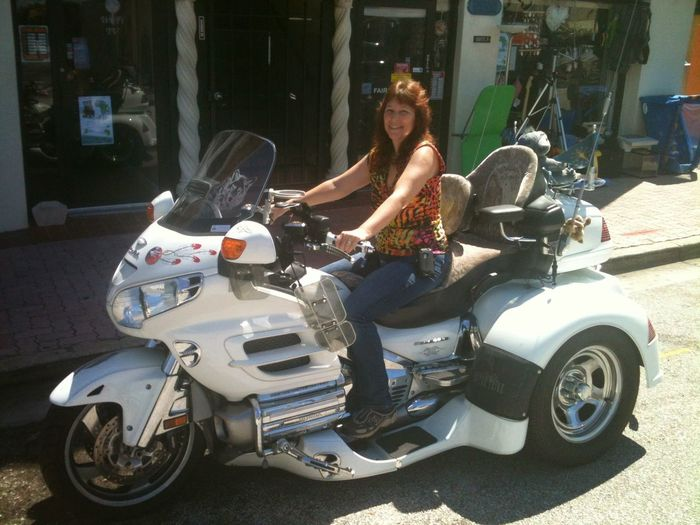 My Lovely Wife Full Length Motorcycle Sitting Smiling