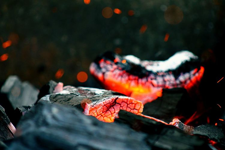 Close-Up Of Coal Burning