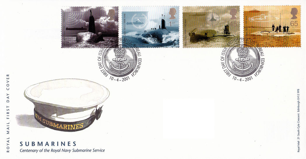 Day Indoors  No People Submarines British Navy Commemorative Stamps First Day Covers British Submarines