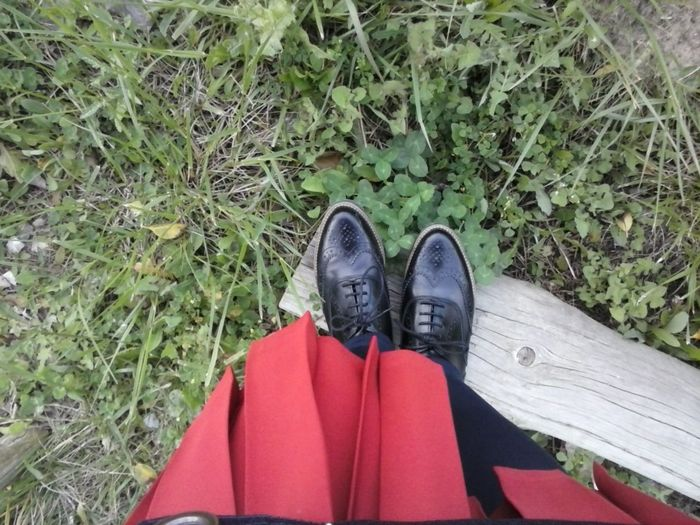Black Shoes Shoe Personal Perspective Grass Red Skirt Black Shoes!!
