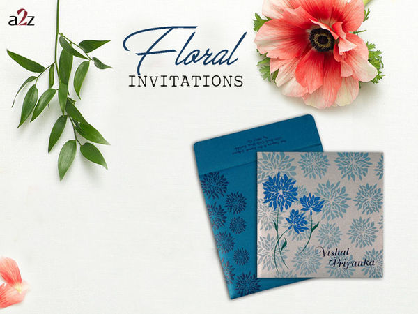 Set the fresh tone of your wedding with our exclusive Blue, Shimmer Paper, floral wedding invitations - AD-1760. Look card details here @ https://www.a2zweddingcards.com/card-detail/AD-1760 Cheap Floral Wedding Invitations Floral Theme Wedding Cards Affordable Wedding Invitations Cheap Wedding Invitations Floral Invitations Floral Wedding Invitations Pocket Friendly Wedding Invitations Floral Themed Wedding Invitations