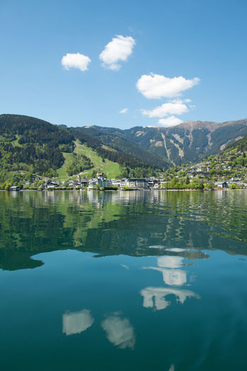 Clouds in the water Alpine Alps Blue Built Structure Clouds Clouds And Sky Day Green House Kaprun, Austria Lake Landscape Mountain Mountain Range Nature Nature Nature_collection Reflection Scenics Sky Tranquility Traveling Tree Water Waterfront