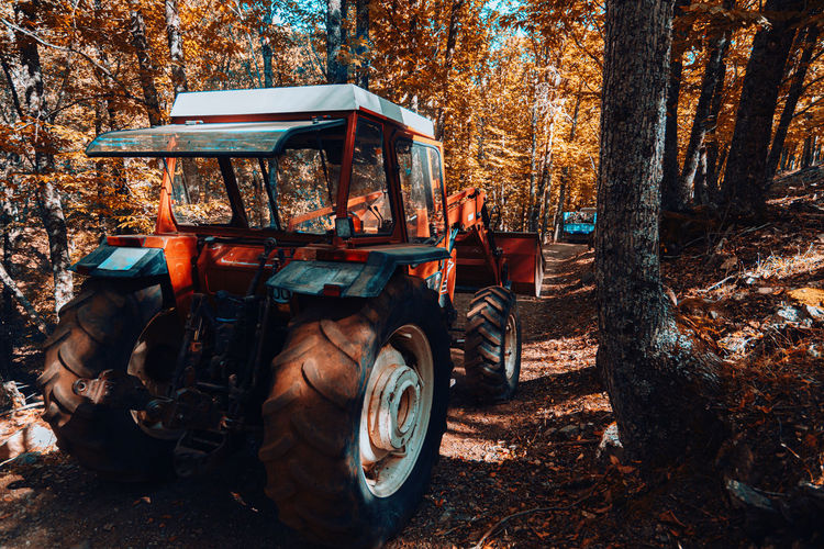 Tractor on field against trees in forest