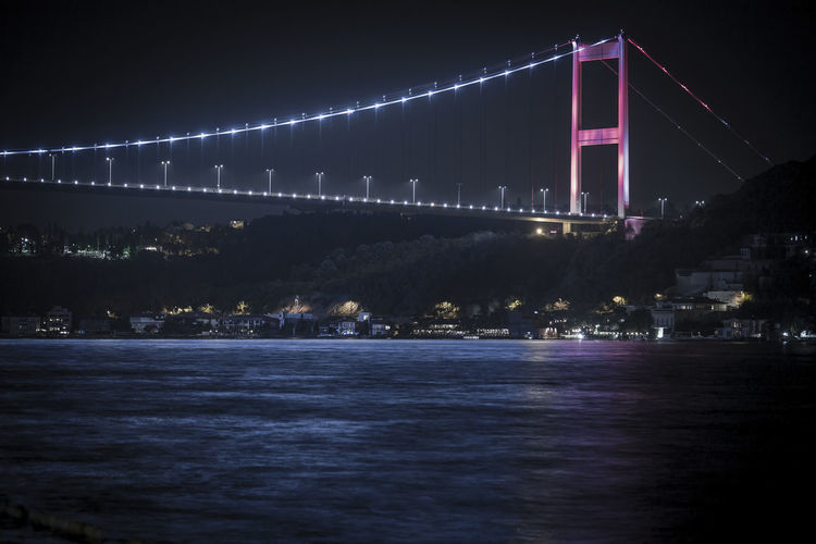 July 15 martyrs bridge over river at night