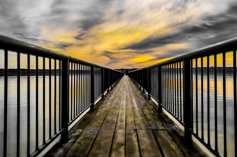 Architecture Bridge Bridge - Man Made Structure Built Structure Cloud - Sky Connection Diminishing Perspective Direction Footbridge Long Metal Nature No People Outdoors Railing Sky Sunset The Way Forward Transportation Wood - Material