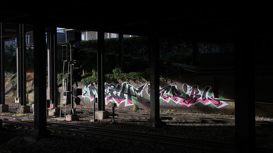 Graffiti on railroad tracks in city