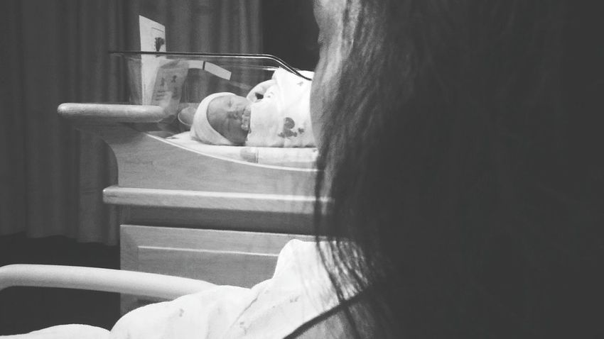 Mother And Child NewBorn Photography IttyBitty  Sleeping Baby  Baby Photography Beauty In Creation  Baby Girl Newborn Resting Hospital 2016 Blackandwhite Truelove Thoughts Over The Shoulder Photography Looking Away Looking To The Other Side