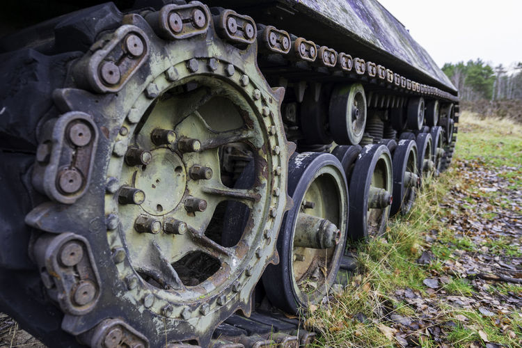 Old abandoned truck on field