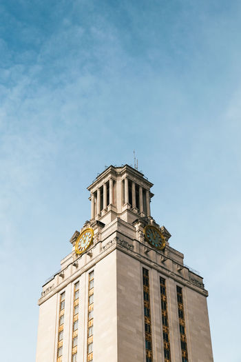 While walking around the The University of Texas campus we made our way to the iconic Tower that's forever steeped in a dark day in history. The Architect - 2018 EyeEm Awards Architecture Belief Building Building Exterior Built Structure Clock Day History Low Angle View Nature No People Place Of Worship Religion Sky Spire  Spirituality The Past Time Tower Travel Destinations