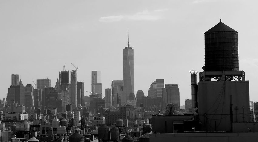 Architecture City View  Cityscape Freedom Tower New York City NYC Water Towers Panoramic Rooftops Skyline Skyscraper