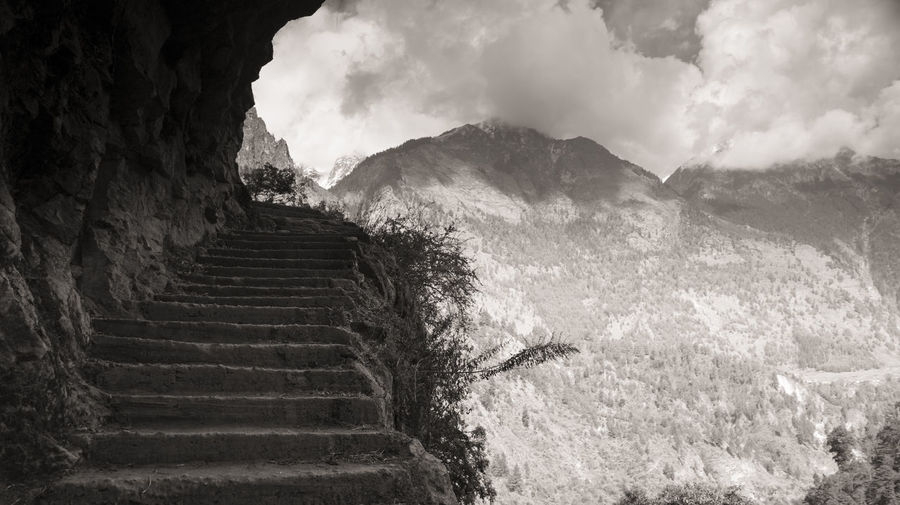 Steps And Mountain Against Sky